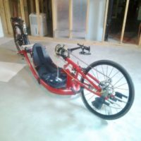 Beautiful red recumbent hand cycling bike for sale!